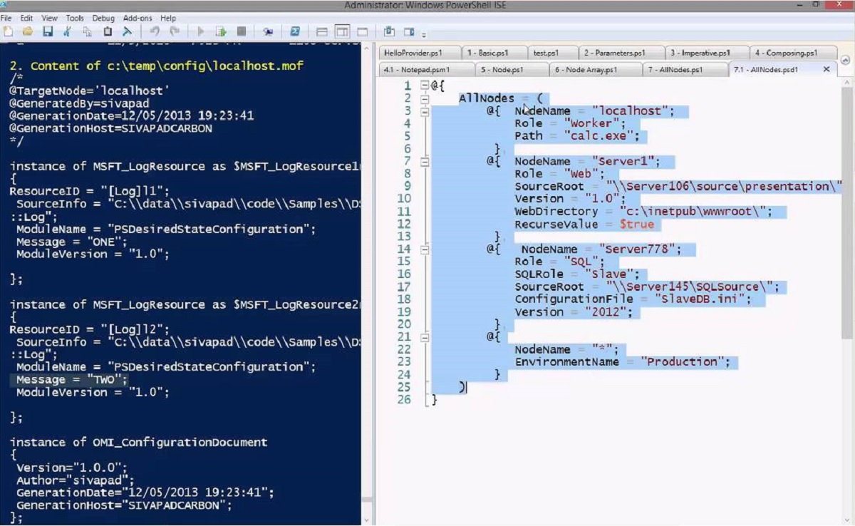 Powershell DSC deployment configuration example